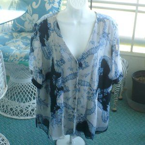 ❤️ONES Of N.Y. Blouse 18W Blue White Floral